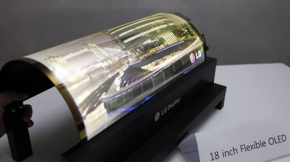 LG apresenta tela flexível de 18 polegadas